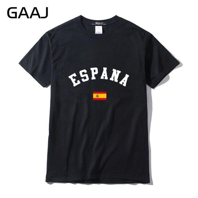 2151a86fe6 Spain Flag Men T Shirts Clothing Casual Print Letter Espana T-shirts For  Man Summer Short sleeve Brand Clothing T-shirt Clothes