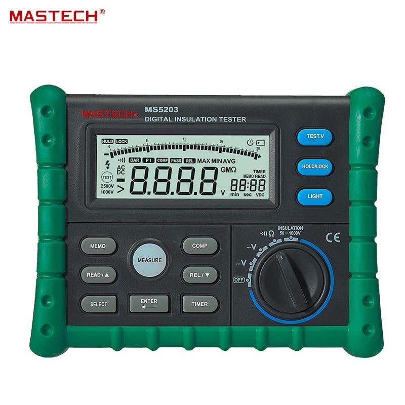 Mètre numérique portatif d'appareil de contrôle de résistance d'isolation de Megger 50 V/100 V/250 V/500 V/1000 V MS5203