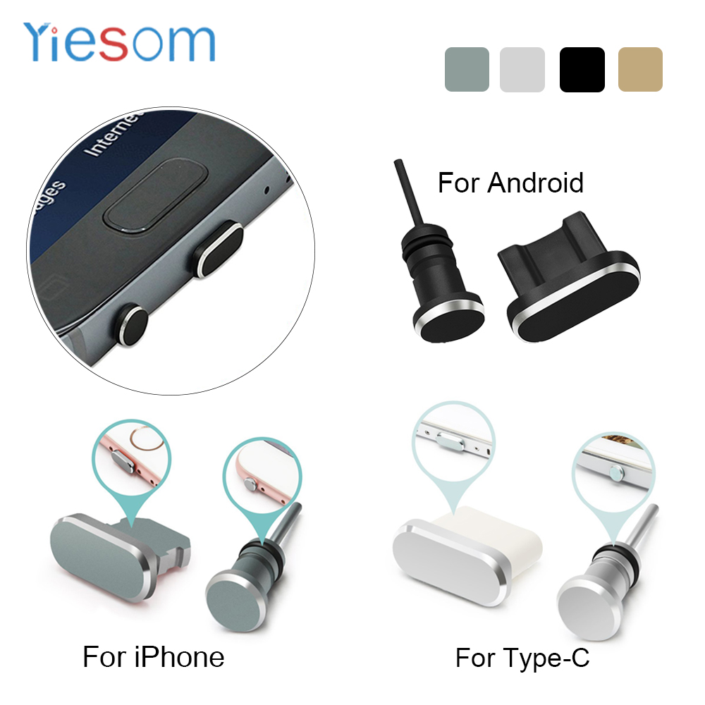 YIESOM Dust Plus For iPhone X 8 7 6S Plus For Android Type C Charging Port Earphone Jack USB Dust Plug Set For Android Type-C