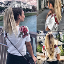 Women Summer T Shirt Short Sleeve Tops Casual Ladies Floral Crew Neck T-Shirt Streetwear White red floral print crew neck sleeveless gym tops