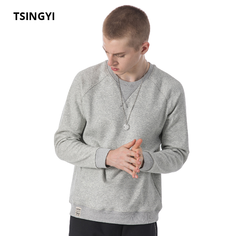 Tsingyi Spring Autumn Pullover Solid Men's Hoodies O-neck Long Sleeve All-Purpose Style Casual Sweat Homme Men Hoodie Sweatshirt