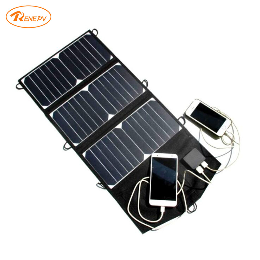 Renepv foldable solar panel 21W monocrystalline 6cells solar charger 5V 2.5A for outdoor use RDF-21W