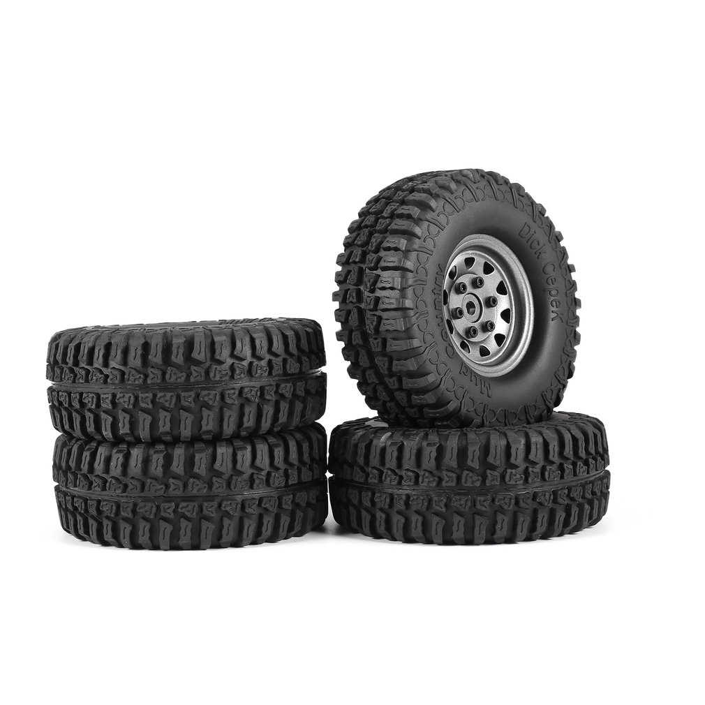 4Pcs AX-3020 1.9 Inch 110mm Rubber Tires Tire with Metal Wheel Rim Set for 1/10 Traxxas TRX-4 SCX10 RC4D90 RC Crawler Car Hobby 4pcs 1 9 inch rubber tires