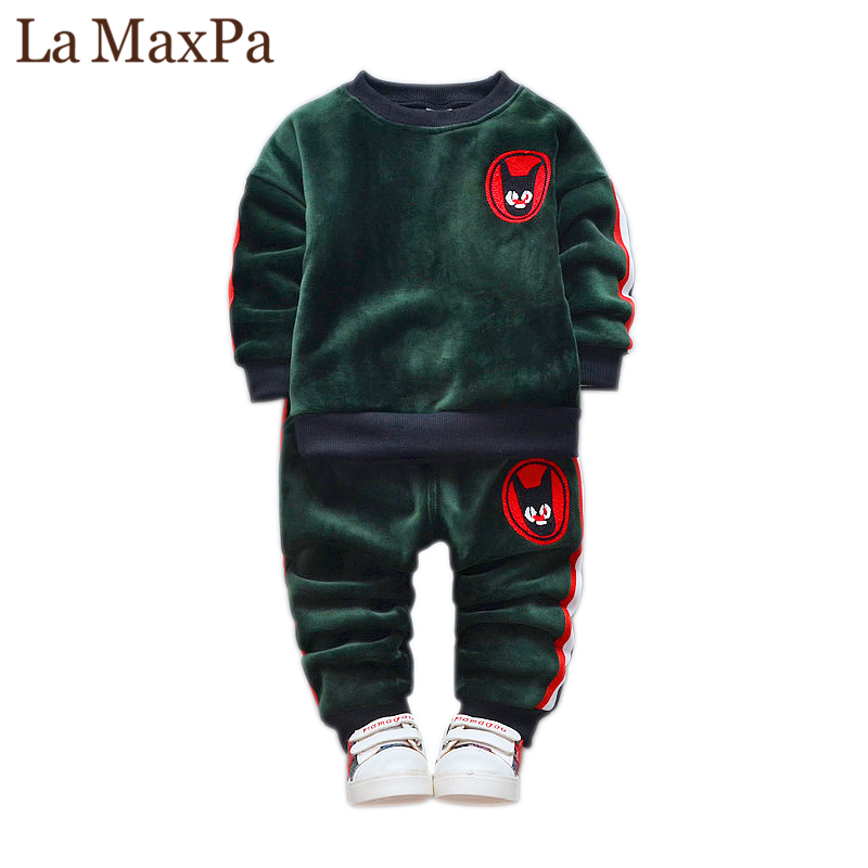 2018 Fashion Children Boys Girls Thick Clothes Sets Baby T-shirt Pants 2Pcs/Sets Kids Winter Spring Suits Toddler Tracksuits