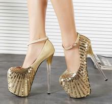 2015 spring thin 20cm ultra high heels single shoes bead-chip women's shoes tiangao sexy wedding shoes plus size 43