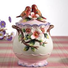 bird lovers ceramic food container candy jar kitchen storage home decor handicraft porcelain figurines wedding decorations