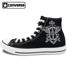 Black Butler Phantomhive Crest Design Hand Painted Shoes Mens Womens Converse All Star Black High Top Canvas Sneakers Gifts