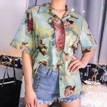 Blusa de mujer con estampado de Ángel Cupido estético Vintage, cárdigan manga corta, blusa gráfica de verano, ropa para mujer, novedad de 2019