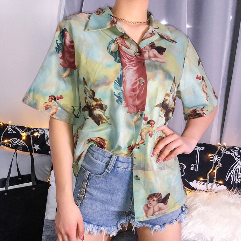Vintage Aesthetic Cupid Angel Print Women' Blouse Shirt Cardigan Short Sleeve Summer Top Graphic Blouse Women Clothes 2019 New