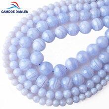 CAMDOE DANLEN натуральный камень синие кружевные Агаты Круглые бусины 6 8 10 12 мм подходят бусины-спейсеры для самостоятельного изготовления ювелирных изделий Аксессуары