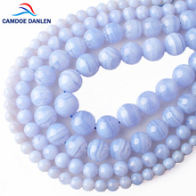 CAMDOE DANLEN Natural Stone Blue Lace Agates Round Loose Beads 6 8 10 12 MM Fit Diy Spacer Beads for Jewelry Making Accessor