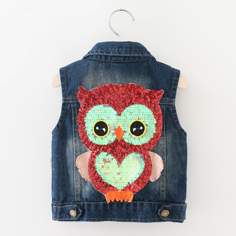 Baby Clothes Spring Autumn Girls Outerwear Cowboy Waistcoats Length Cartoon Owl Appliques Coat for Kids Sleeveless Vests