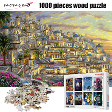 MOMEMO Puzzle 1000 Pieces Small Town Night High Definition Landscape Wooden Jigsaw Adult Puzzles Toys
