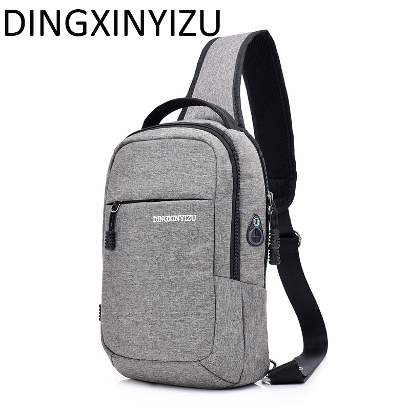 DINGXINYIZU Men Chest Bag Canvas Single Shoulder Strap Back Bag Fashion Men Crossbody Bags Male Travel Chest Pack for Man Bolsas