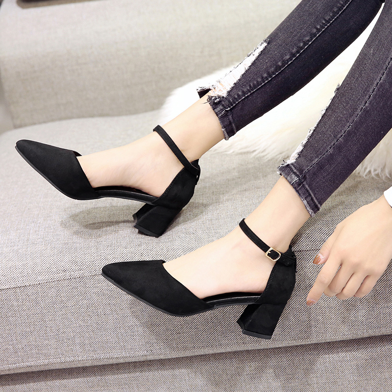 EOEODOIT 5 Cm Women Med Heels Shoes Pointy Toe Ankle Buckle Pumps Summer Autumn Female Shallow Mouth Sandals
