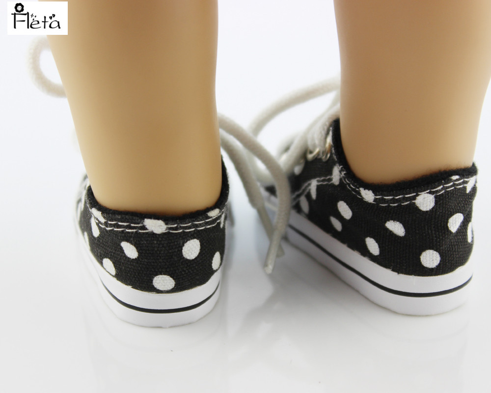 Fleta Free shipping White small round canvas shoes doll accessories for 18 inch American girl b311