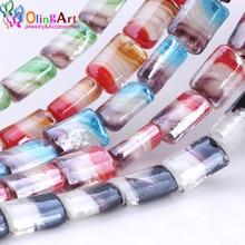 OlingArt 6pcs/lot Lampwork Glass Beads Cuboid Multicolor Flower Pattern 15*20mm DIY Bracelet choker necklace jewelry making NEW