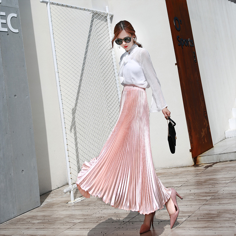 2017 autumn Fashion Vintage Silver Golden metal solid flared  Maxi Skirt High Waist Beach Long Pleated Skirts for Women Ladies