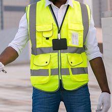 High Visibility Reflective Vest Work Wear Safety Vest Multi Pocket Reflective Strips Fluorescence S-M-L
