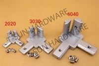 3-way 90 graus dentro do perfil de alumínio T-slot suporte de canto 2020 3030 4040