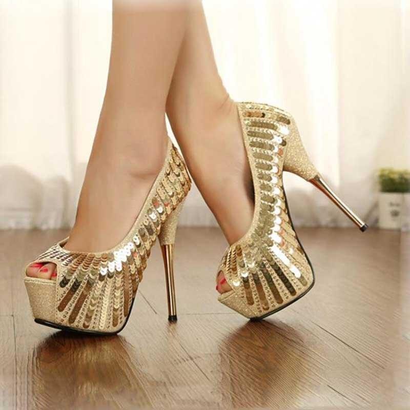 c74e6361b19 Gold Sequin women sexy pumps prom shoes woman high heels ladies platform  bridal shoes chaussure femme talon rockstud escarpins