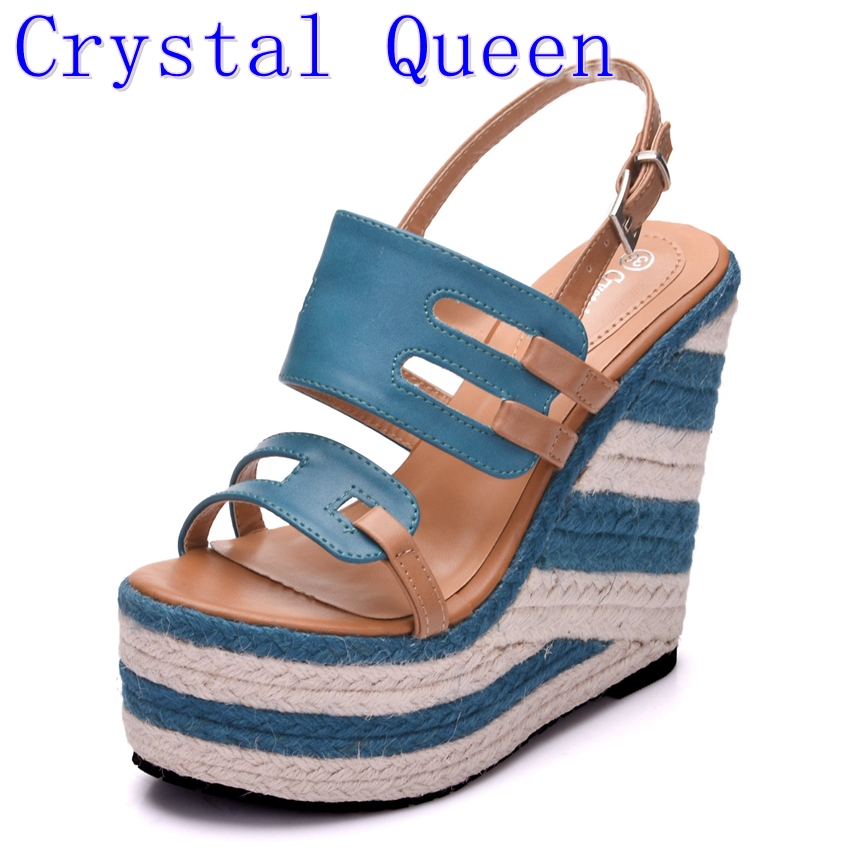 Crystal Queen Summer Style Women Wedge Sandals Fashion Open Toe Platform Extra High Heels Sandals Ladies Casual Shoes 2016 new fashion ladies sexy platform high wedge heels shoes women summer style vintage open toe buckle soft leather sandala