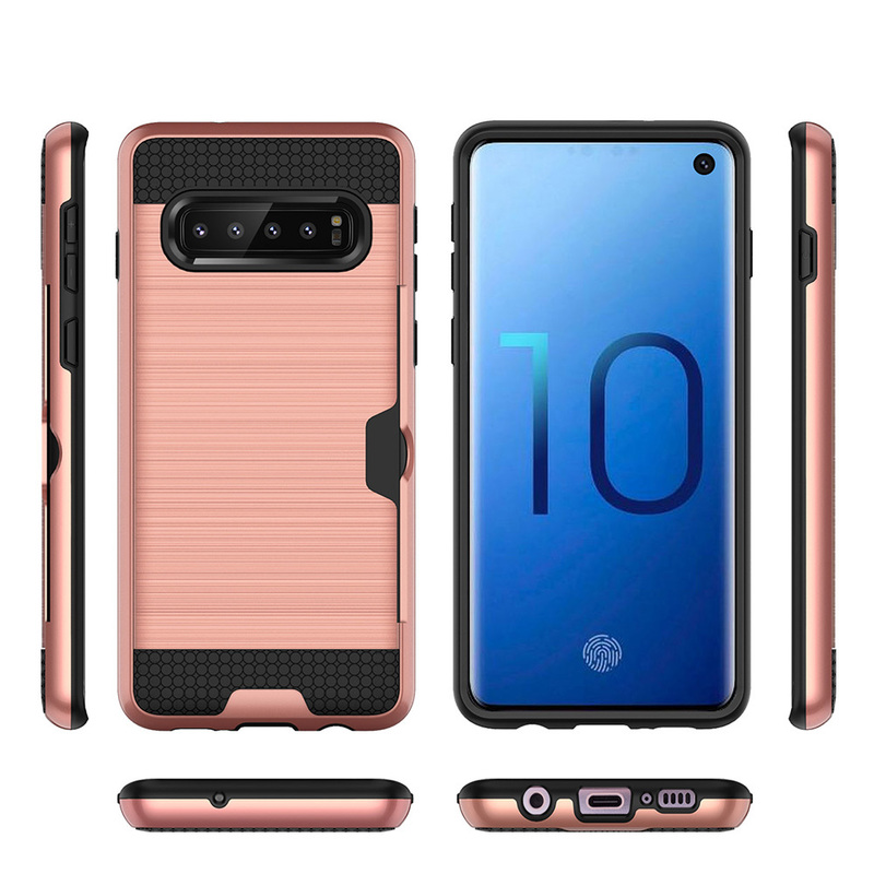 Colorful Brushed Armor Phone Cover For Samsung Galaxy S10 E S10 Plus S9 Plus Cases Card Slot Shockproof Case