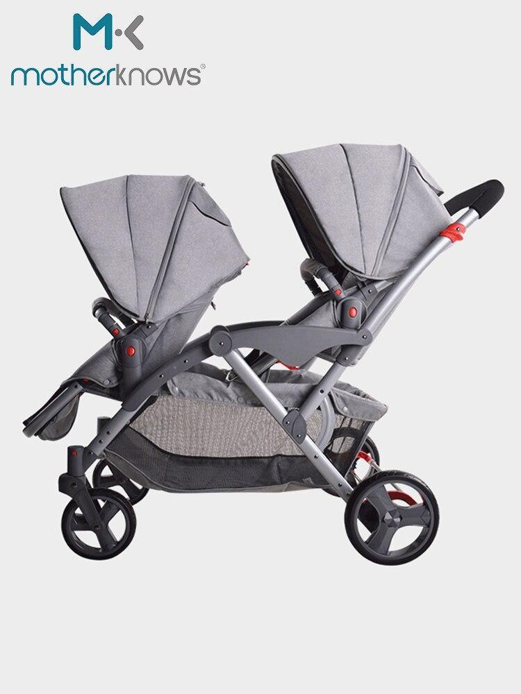 Les poussettes jumelles de bébé peuvent s'asseoir et les piles légères détachables de paysage élevé des poussettes jumelles de jumeaux et de jumeaux