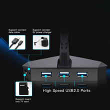 USB 2.0 Data Gaming High Speed USB HUB 3-Port HUB with Mouse Bungee USB Hub Splitter Micro SD Card Reader Mouse Clamp цена