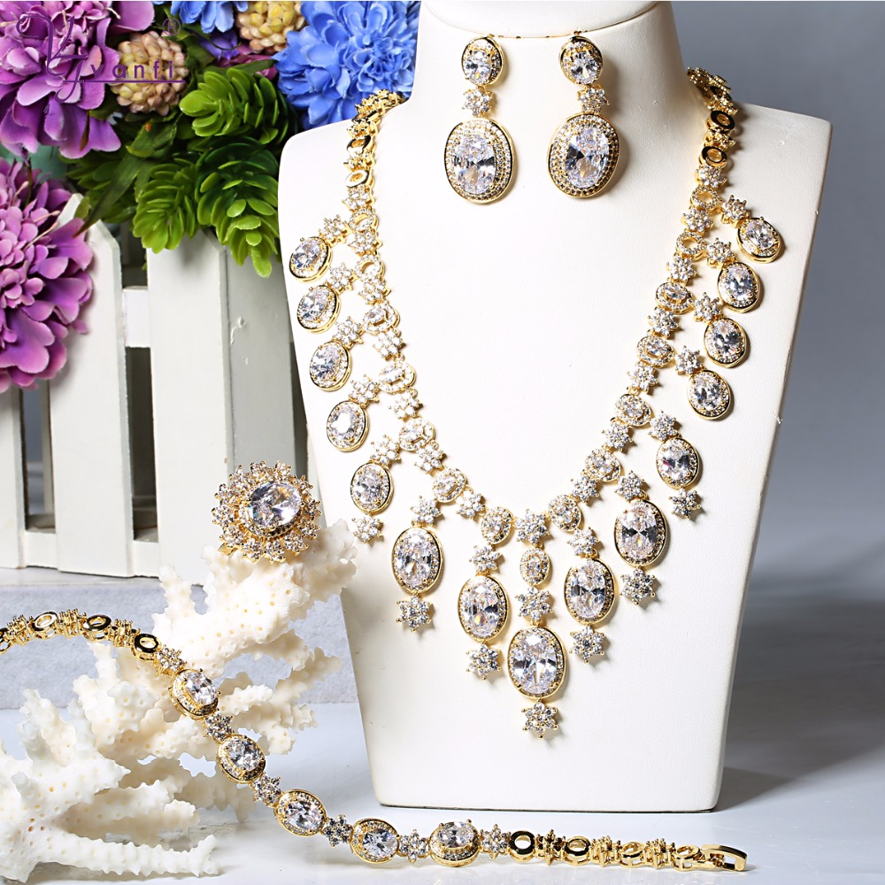 Fashion Women Wedding Jewelry Set  Gold Color Luxury Copper White Necklace Earrings Rings JewelryFashion Women Wedding Jewelry Set  Gold Color Luxury Copper White Necklace Earrings Rings Jewelry