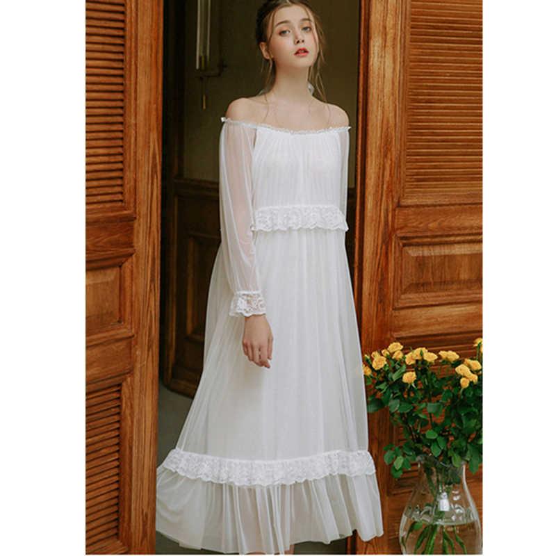 ad32118ea4562 2019 Princess White Lace Ruffled Night Dress For Wedding Vintage Three  Quarter Sleeve Nightwear Women Sleep Wear Home Dress T427