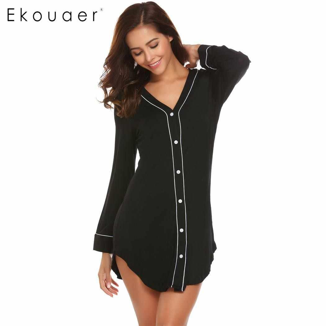 33715196d27f Ekouaer Casual Women Nightgown Sleepwear Long Sleeve Solid Contrast Color  V-Neck Sleep Shirt Dress