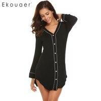 Ekouaer Casual Women Nightgown Sleepwear Long Sleeve Solid Contrast Color V Neck Sleep Shirt Dress Female