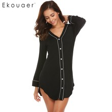 Ekouaer Casual Women Nightgown Sleepwear Long Sleeve Solid Contrast Color V Neck Sleep Shirt Dress Female Nightie Home Clothes