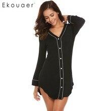 Ekouaer, camisón informal para mujer, ropa de dormir de manga larga, Color sólido en contraste con cuello en V, Vestido camisero para mujer, ropa de casa