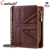 CONTACT'S Genuine Leather Men Wallet Male Coin Purse Short Wallet With Chain Rfid Card Holder Small Walet Brand Design Zipper