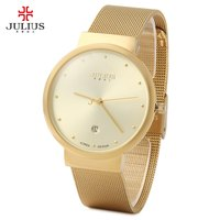 Julius JA 426 Ultra Thin Stainless Steel Mesh Band High Hardness Glass Mirror Men Quartz Watch