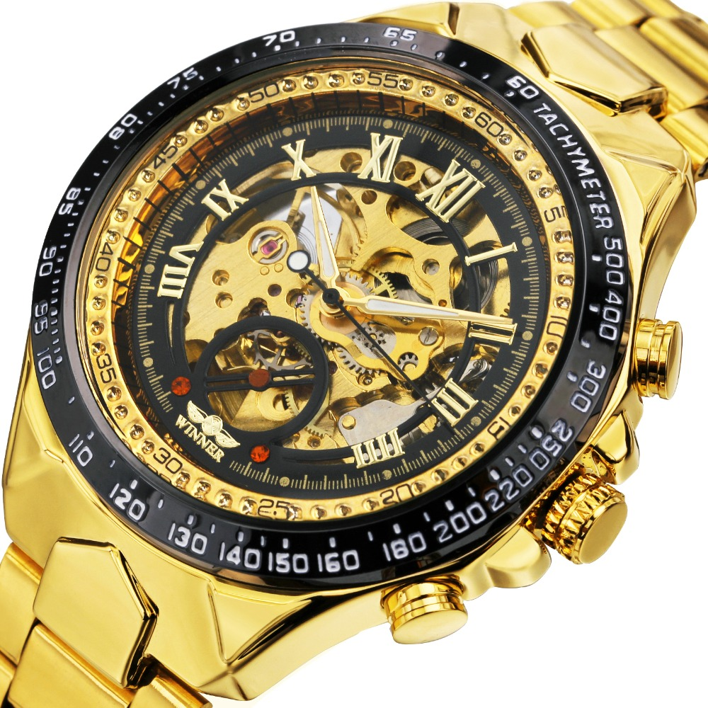 2018 WINNER Men Gold Watches Automatic Mechanical Watch Male Skeleton Wristwatch Stainless Steel Band Luxury Brand Sports Design luxury brand golden winner luminous automatic mechanical skeleton dial watch mens stainless steel bracelet band men wristwatch