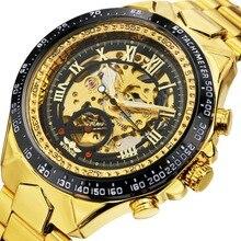 2019 WINNER Men Gold Watches Automatic Mechanical Watch Male Skeleton Wristwatch Stainless Steel Band Luxury Brand Sports Designsport brandsport sportsport band