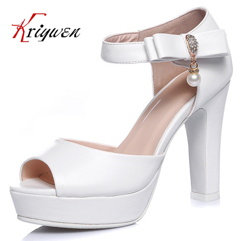 Big size 33-44 Ankle strap white pink sweet girl's sandals peep toe cover heel solid high heels party bridals lady wedding shoes кофемолка микма ип 33 white moray