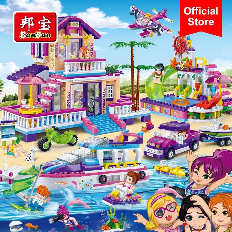 BanBao ville filles côte d'or Villa bord de mer plage vacances blocs de construction modèle jouet briques enfants enfants ami cadeau 6136