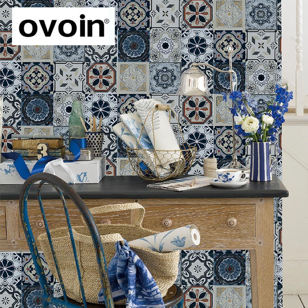Blau 3d Wallpaper-kaufen Billigblau 3d Wallpaper Partien Aus China ... Vintage Wohnzimmer Blau