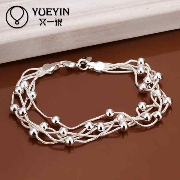 Luxury Fashion Brand New Design of Silver Plated Female Charm Cubic Zircon Crystal Jewelry Bead Bracelet