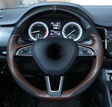 1pc for SKODA superb 2016-2018 Steering wheel cover Hand seams
