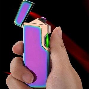Image 1 - Encendedor eléctrico USB encendedor de Plasma de doble arco recargable a prueba de viento encendedor de cigarrillos logotipo láser gratis