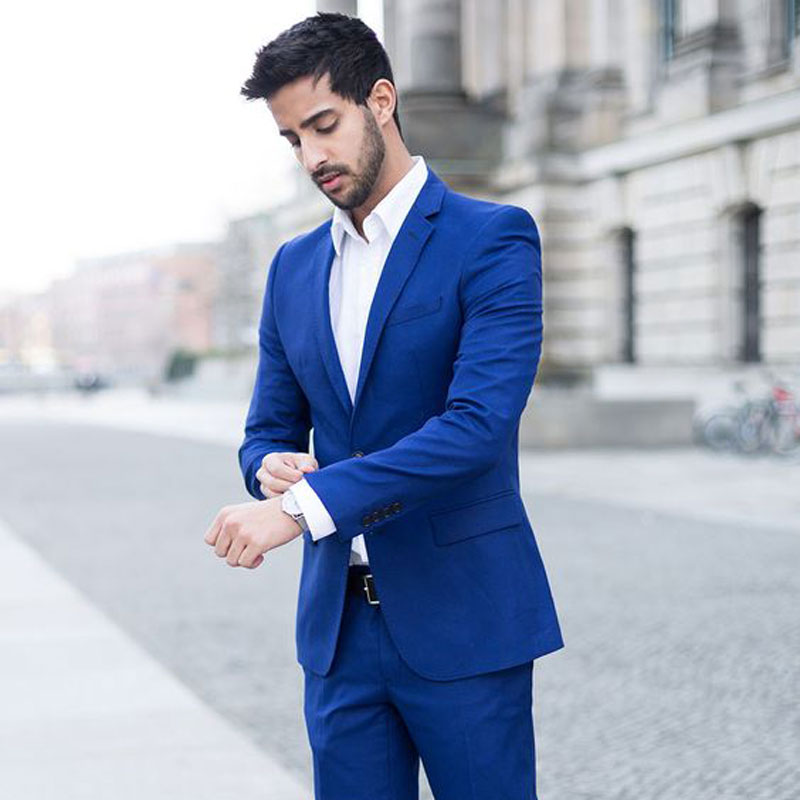 Latest Design Royal Blue Business Men Suits Groom Tuxedo Mens Wedding Suits Custom Made Costume Homme Prom Party Terno Masculino