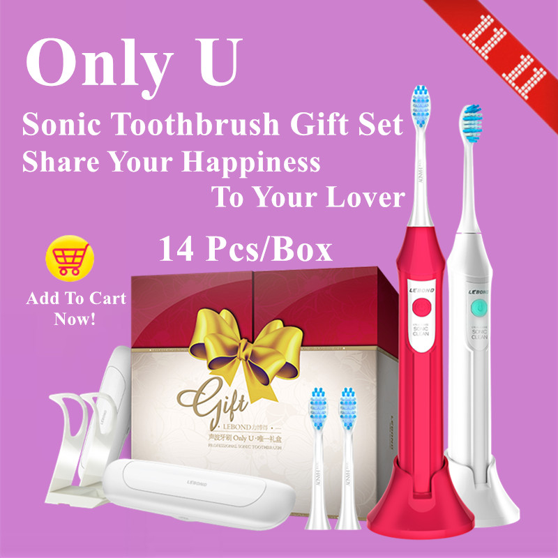 LEBOND Sonic Electric Toothbrush Only U Series Oral Clean Mode Inductive Charging Couple Kits 2 Pcs/Box For Adults 2pcs philips sonicare replacement e series electric toothbrush head with cap