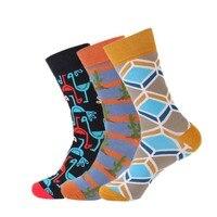 Big Size Winter Mens Cotton Socks Colorful Striped Jacquard Art Socks Funny Dot Plaid Long Wedding