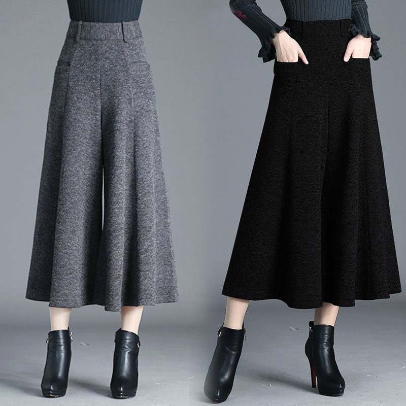 Autumn Thicken Woolen Wide leg Pants Women High waist Streetwear Harajuku Pleated Skirt Pants Ankle length Trousers pantalon