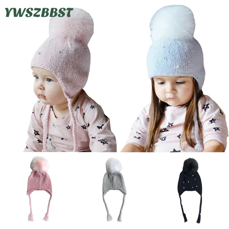 Fashion Baby Hats with Pearl Autumn Winter Hat for Girls Kids Crochet Beanies Boys Caps with pom pom Knit hats 0 3 Years in Hats Caps from Mother Kids